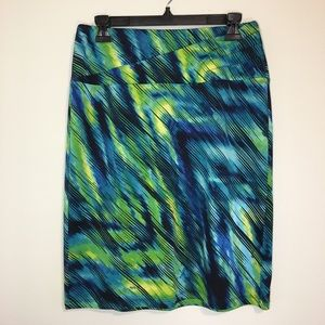 Blue and Green Pencil Skirt